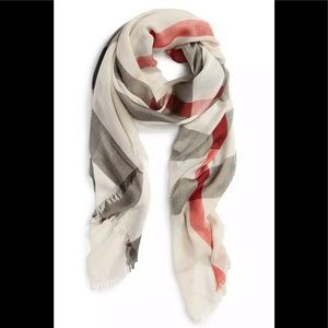 Burberry Sheer Mega Check Scarf Ivory Check scarf